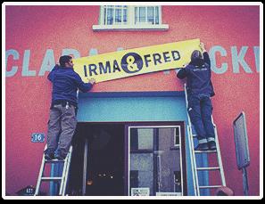 """der alte Name """"Clara-Brocki"""" wird überhängt mit Irma & Fred"""